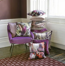 Load image into Gallery viewer, Stormi Purple Velour Piped Duck Feather Filled Cushion 43cm x 43cm