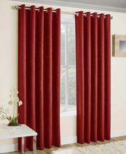 Load image into Gallery viewer, Vogue Red Textured Self Lined Curtains
