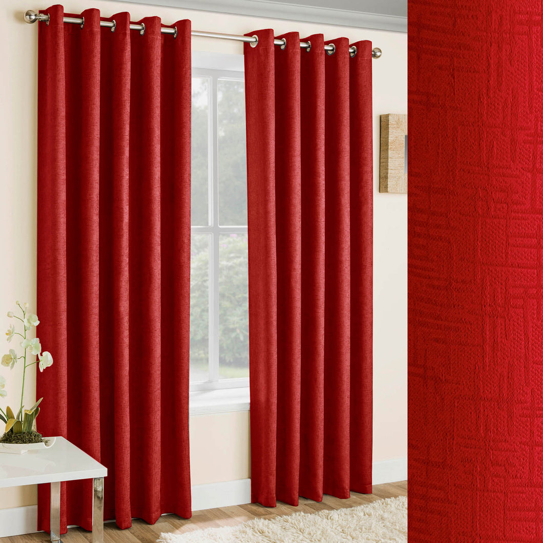 Vogue Red Textured Self Lined Curtains