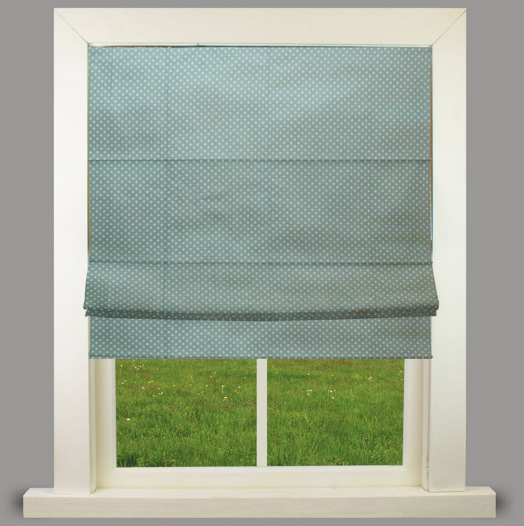 Maria polka Blue Lined Roman Blind