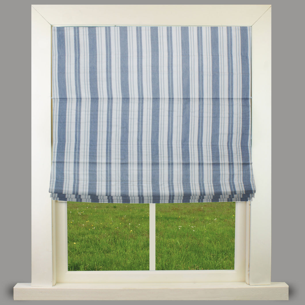 Orkney Blue Fully Lined Roman Blind