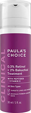 Paula's Choice CLINICAL 0.3% Retinol + 2% Bakuchiol Treatment, Anti-Aging Serum for Deep Wrinkles & Fine Lines, Fragrance-Free & Paraben-Free, 1 Ounce