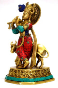 Brass Krishna Statue Standing With Cow KTS121