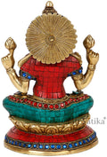 Lakshmi Maa Idol Made with Turquoise Brass Showpiece