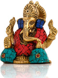 Small Statue of Lord Ganesha in Solid Brass with Stone Work
