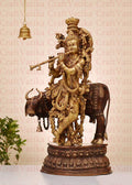 Lord Krishna Playing Flute Standing Sculpture Decorative Statue