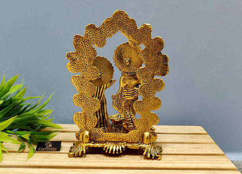 Brass Radha Krishna Idol Murti with Diya Showpiece