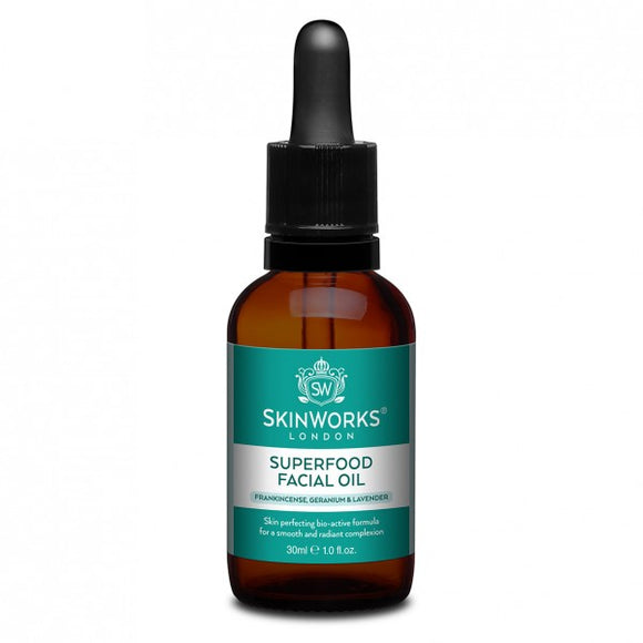 Bottle of SkinWorks Superfood Facial Oil 30ml