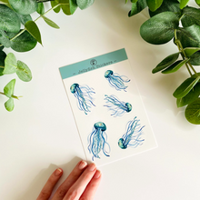 Load image into Gallery viewer, Jellyfish Vinyl Sticker Sheet 4x6 | Watercolor Gouache