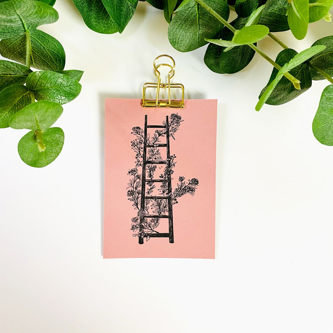 Black and White Floral Ladder Line Art | Physical Print