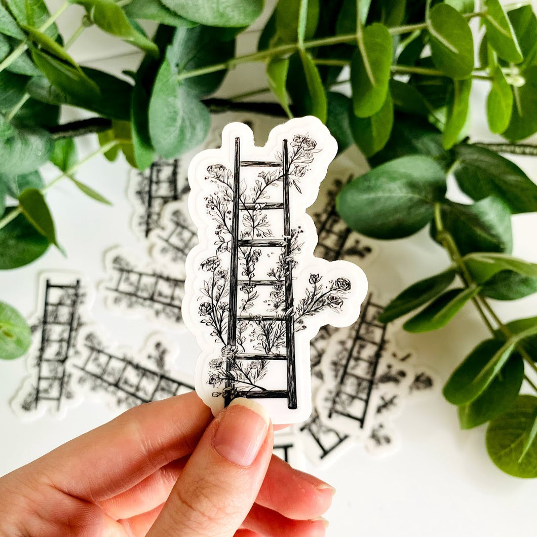 Black & White Floral Ladder Line Art Vinyl Die Cut Sticker 2x3