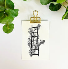 Load image into Gallery viewer, Black and White Floral Ladder Line Art | Physical Print