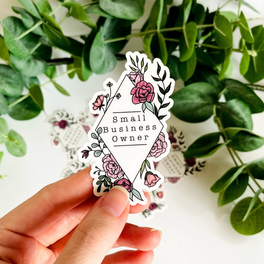 Small Business Owner Floral Frame Vinyl Die Cut Sticker 2x3