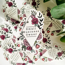 Load image into Gallery viewer, Small Business Owner Floral Frame Vinyl Die Cut Sticker 2x3""
