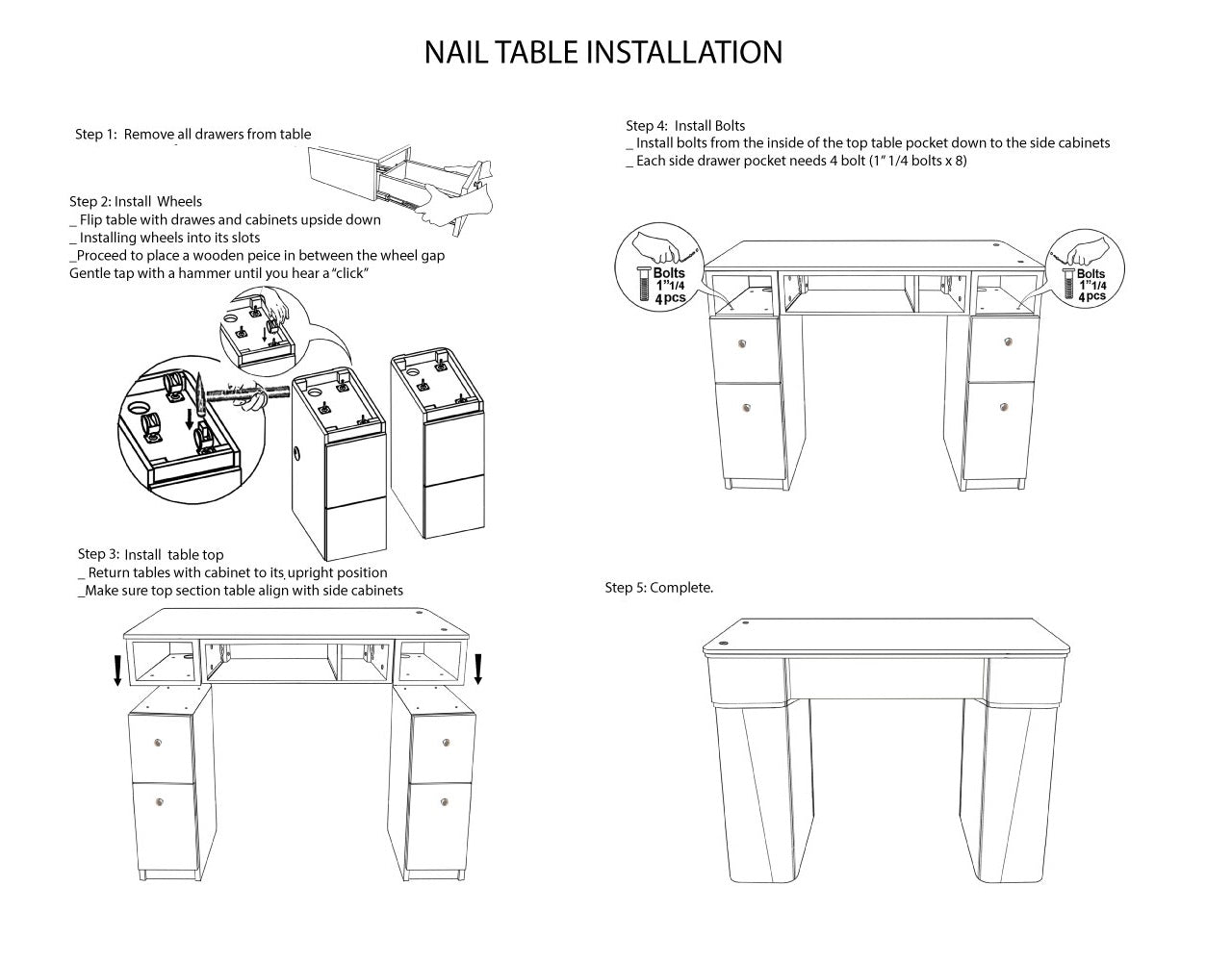 Manicure Table Installation