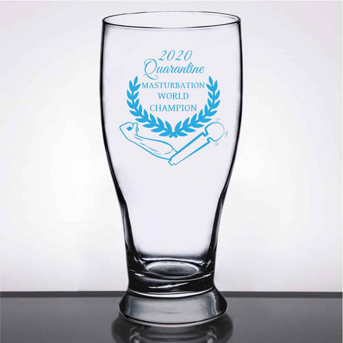 2020 Quarantine Masturbation World Champion 15.5oz Libbey Pub Glass