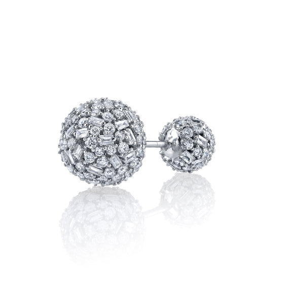 Pave Mixed Cut Diamond Double Ball Stud