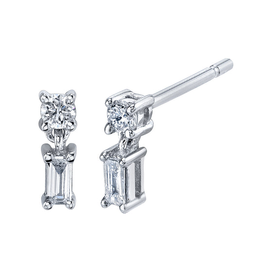 Mixed Cut Single Drop Diamond Stud Earrings