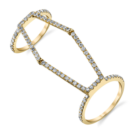 Pave Diamond Hexagon Double Ring