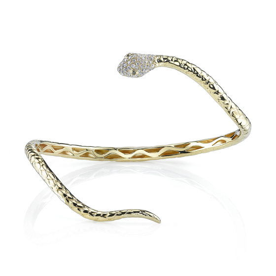 White Diamond Wrapped Snake Cuff