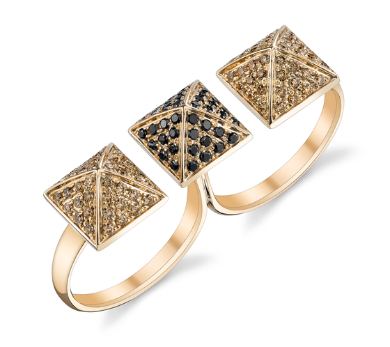 Rose Gold, Pave Black & Brown Diamond Double Finger Ring