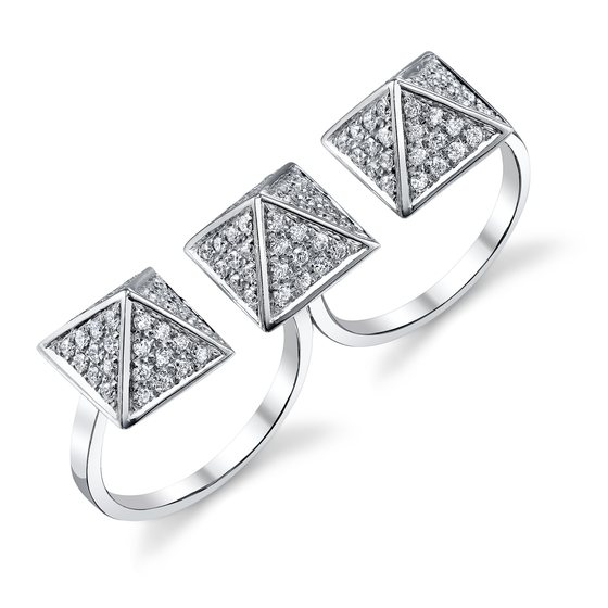 Pave White Diamond Pyramid Double Finger Ring