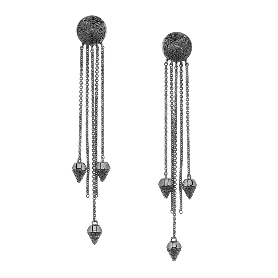 Black Diamond Spike Dangle Earrings