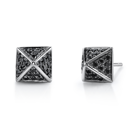 Pave Black Diamond Pyramid Stud Earrings