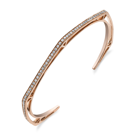 Pave Diamond Hexagon Open Bangle