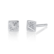 Mini Pave Diamond Pyramid Stud Earrings
