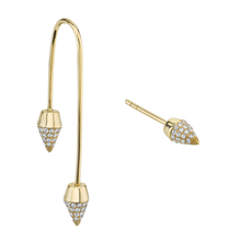 Diamond Spike Drop Earrings With Matching Spike Stud
