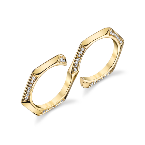 "Diamond Hex ""S"" Double Finger Ring"