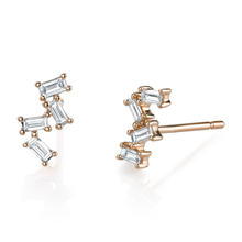 4 Diamond Baguette Stud Earrings
