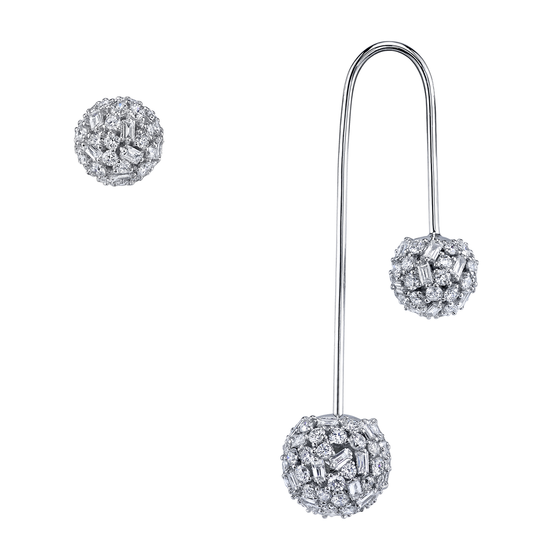 Mixed Cut Diamond Drop Ball Earring With Matching Stud Set