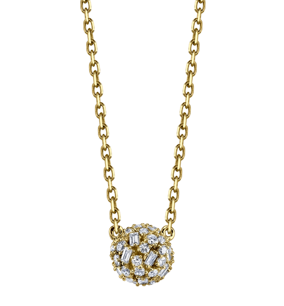 Yellow Gold Small Pave Mixed Cut Diamond Ball Necklace