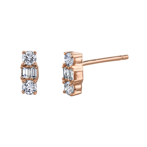 Mixed Cut Diamond Stud Earrings