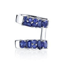 Blue Sapphire Mixed Cut Double Ear Cuff