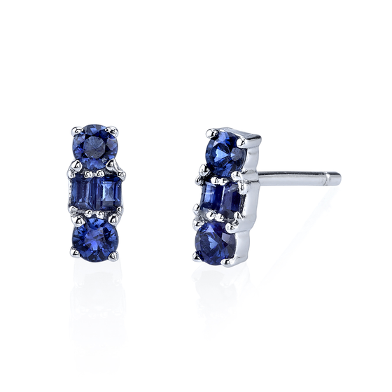 White Gold Mixed Cut Blue Sapphire Stud Earrings