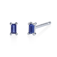Single Blue Sapphire Baguette Stud Earrings