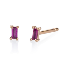 Ruby Baguette Single Stud Earrings