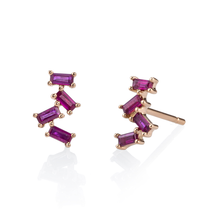 4 Ruby Baguette Stud Earrings