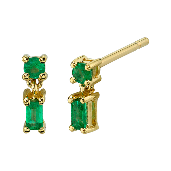 Yellow Gold Mixed Cut Single Drop Emerald Stud Earrings