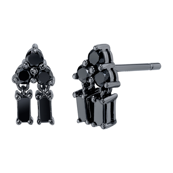 Black Rhodium Gold Mixed Cut Pyramid Drop Black Diamond Stud Earrings