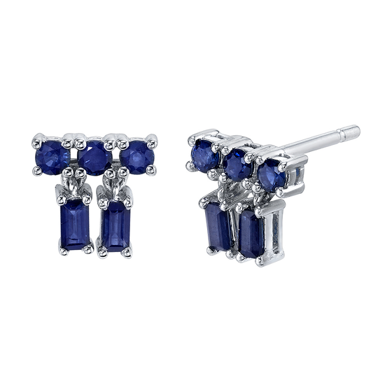 White Gold Blue Sapphire Mixed Cut Drop Blue Sapphire Stud Earrings