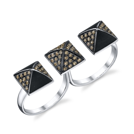 Pave Brown Diamond Ebony Wood Double Finger Ring