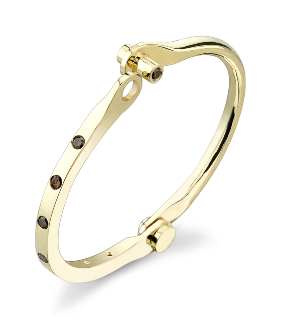 Yellow Gold, Brown Diamond Burnished Handcuff