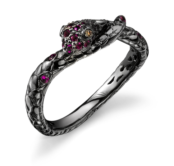 Black Rhodium Gold, Ruby Snake Band
