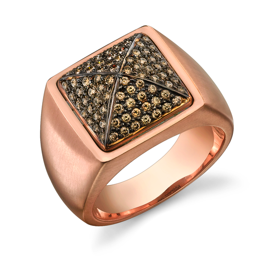 Pave Brown Diamond Pyramid Ring