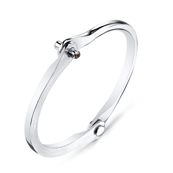Sterling Silver Handcuff With Brown Diamond Studs