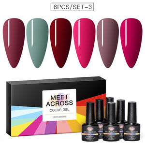MEET ACROSS Gel Nail Polish Set 6 Colors Nude Pink Gel Polish Kit Soak Off UV Led Lamp Base Top Coat Needed With Gifts Box For Nail Art Salon Design Manicure Starter Set